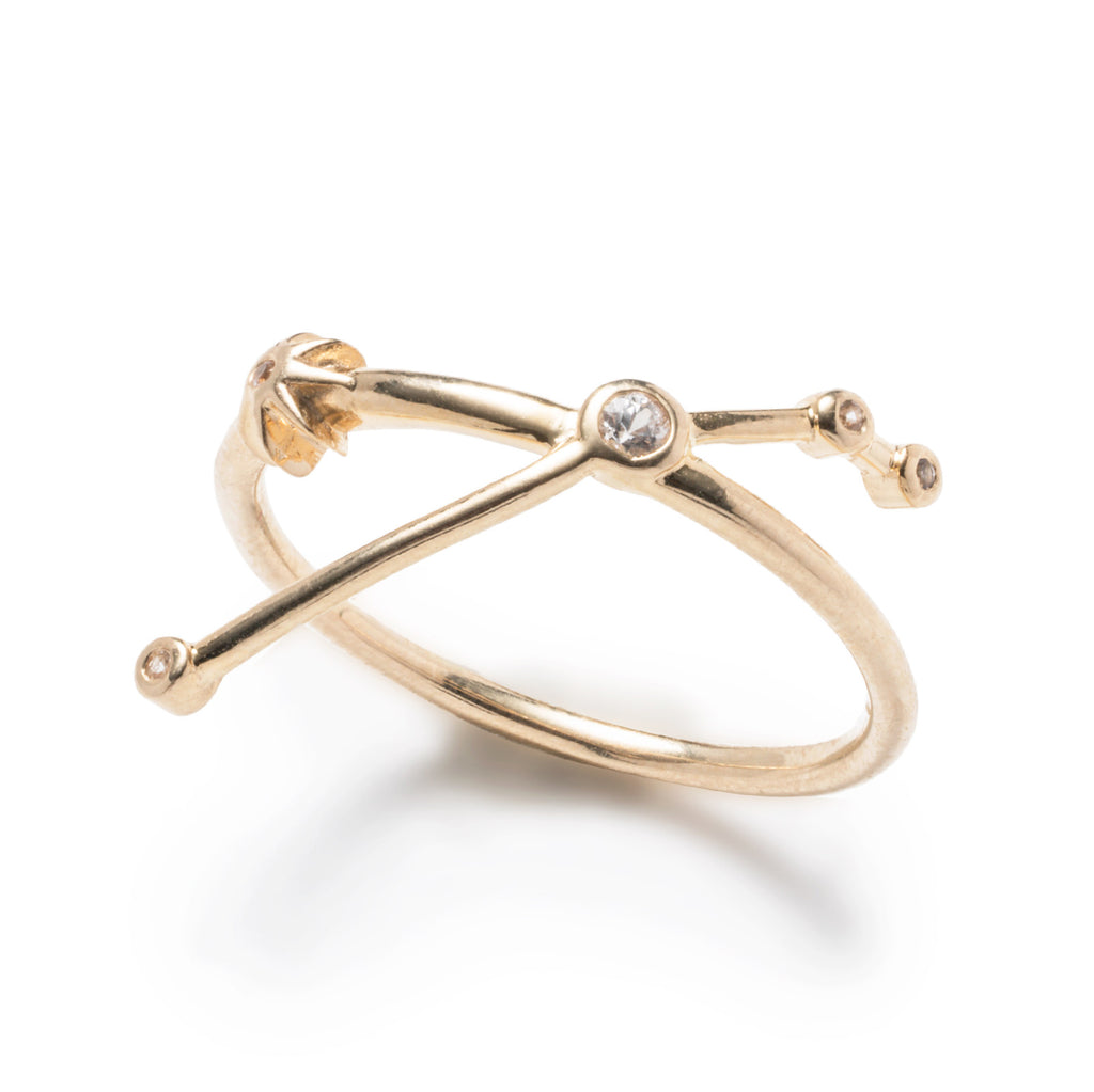Zodiacs 14k & Diamond Aries + Fire Ring