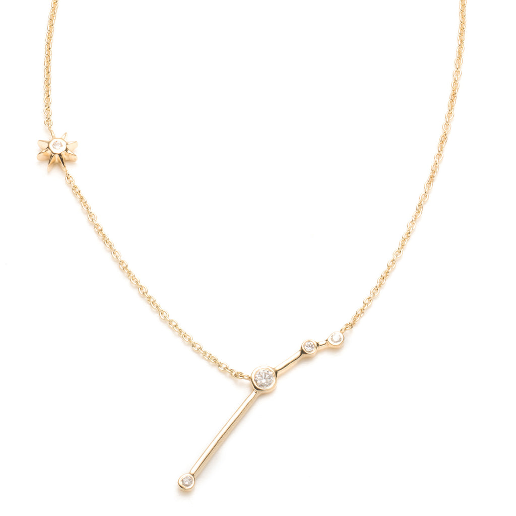 Zodiacs 14K & Diamond Aries + Fire Necklace