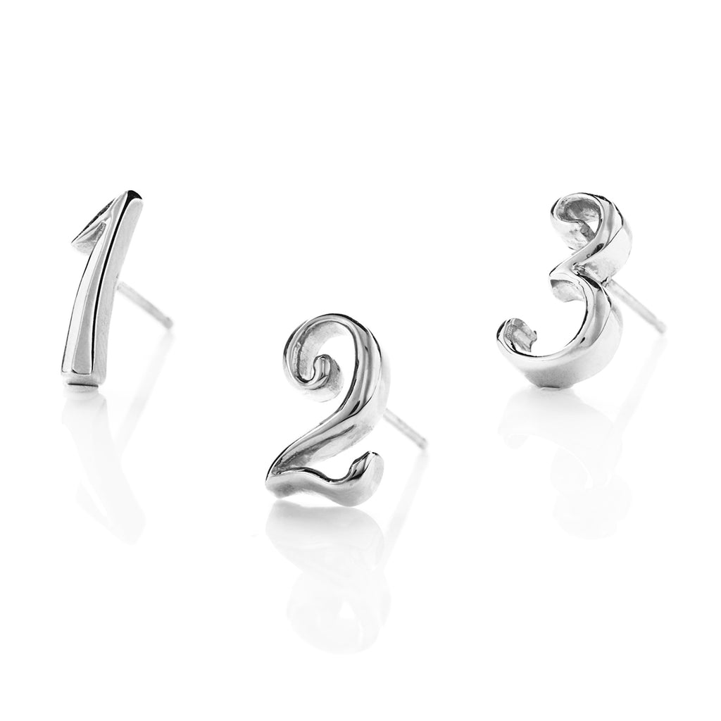 Code Number Stud Earring Sterling Silver
