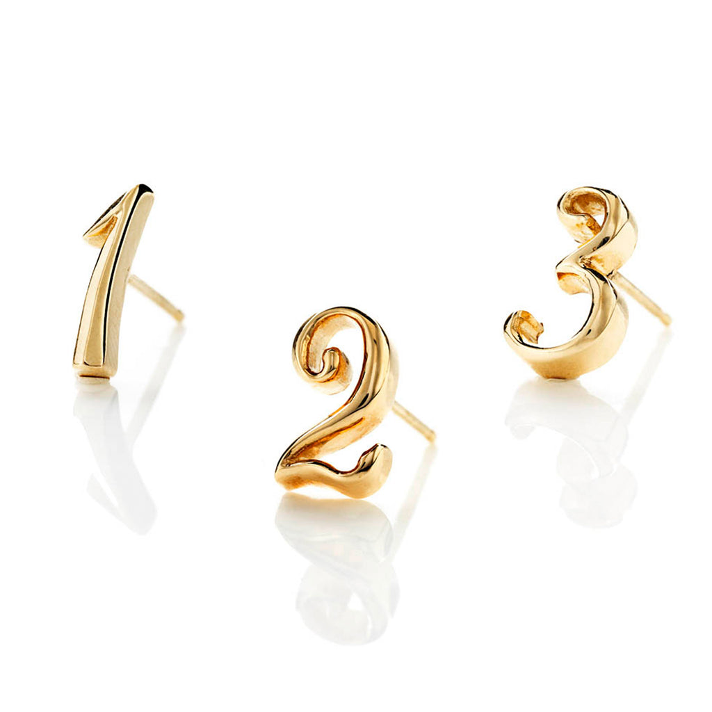 Code Number Stud Earring 14K Gold