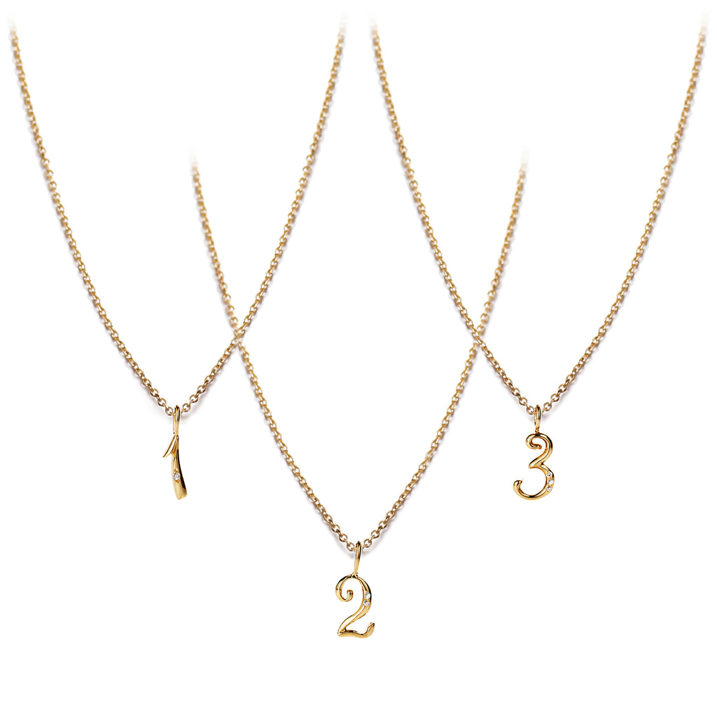 Code Number Diamond Necklace 18K Gold