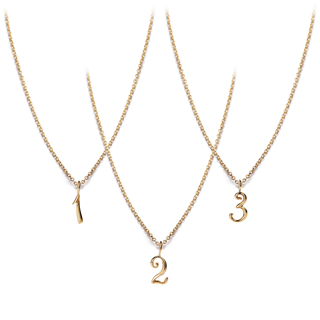 Code Number Necklace 14K Gold