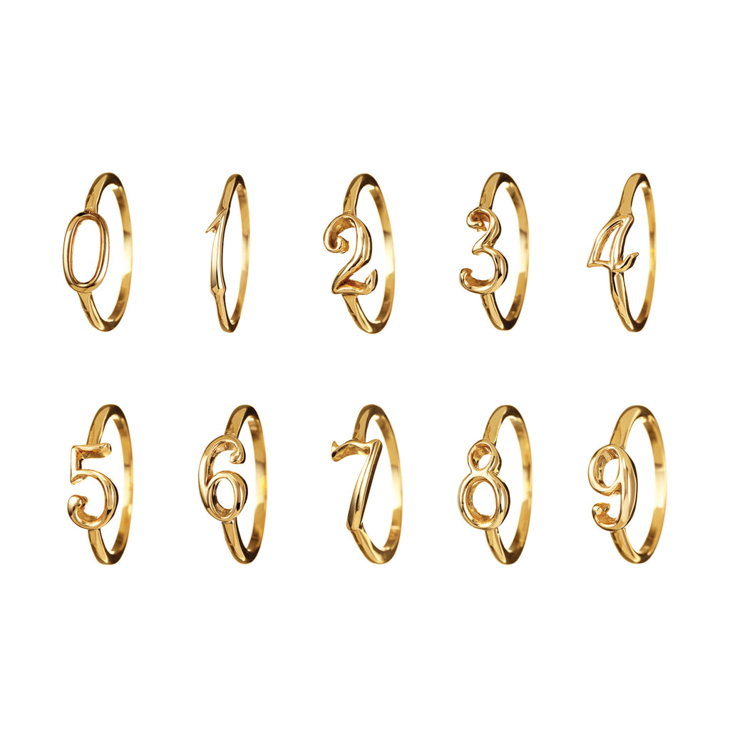 CODE Number Ring Yellow Gold 14k Gold - Photo