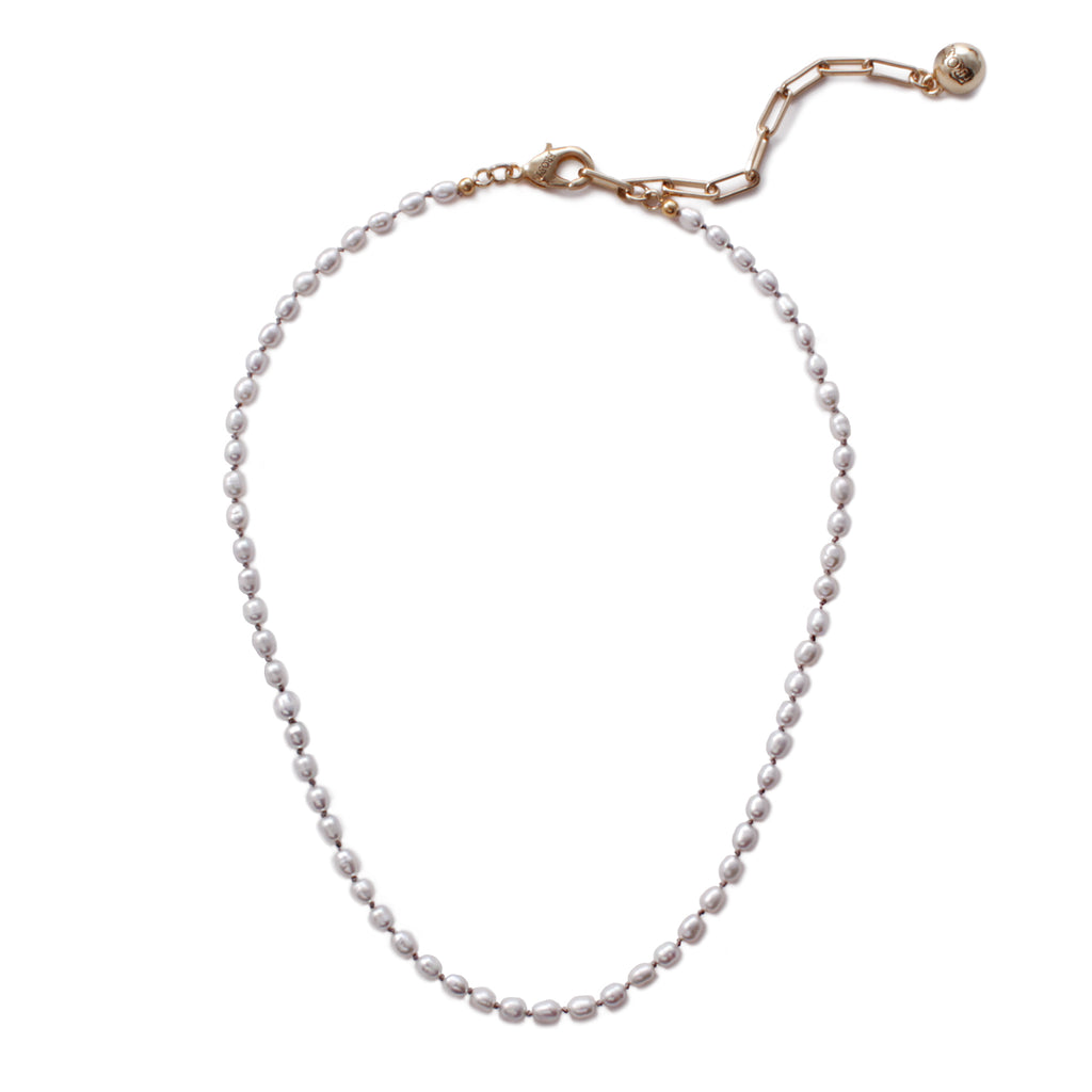 Plaza Petite Gray Baroque Pearl Necklace Base