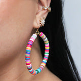 Rainbow Beaded Hoop Earring