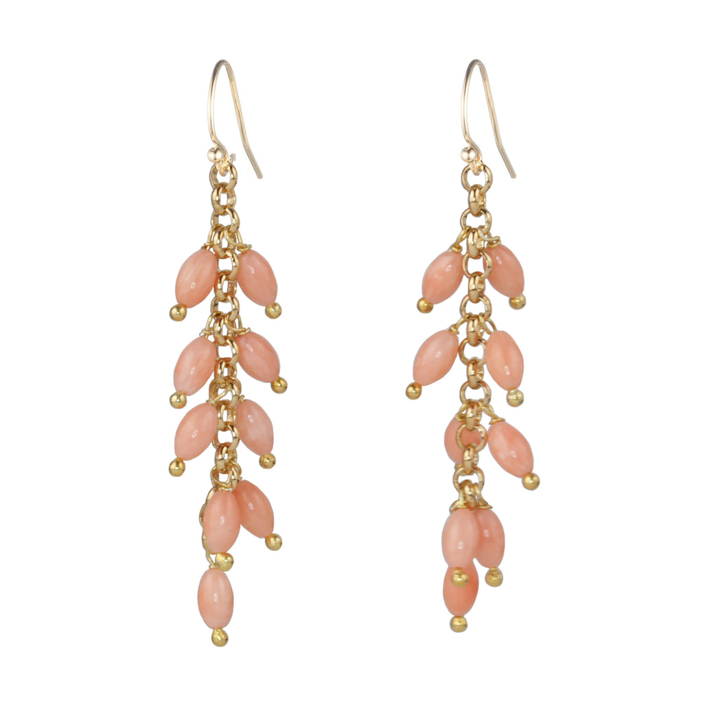 Natural Coral Beaded Drop Earring