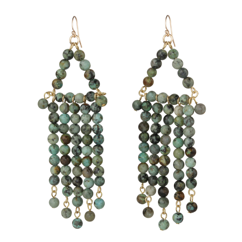 Natural Turquoise Beaded Chandelier Earring