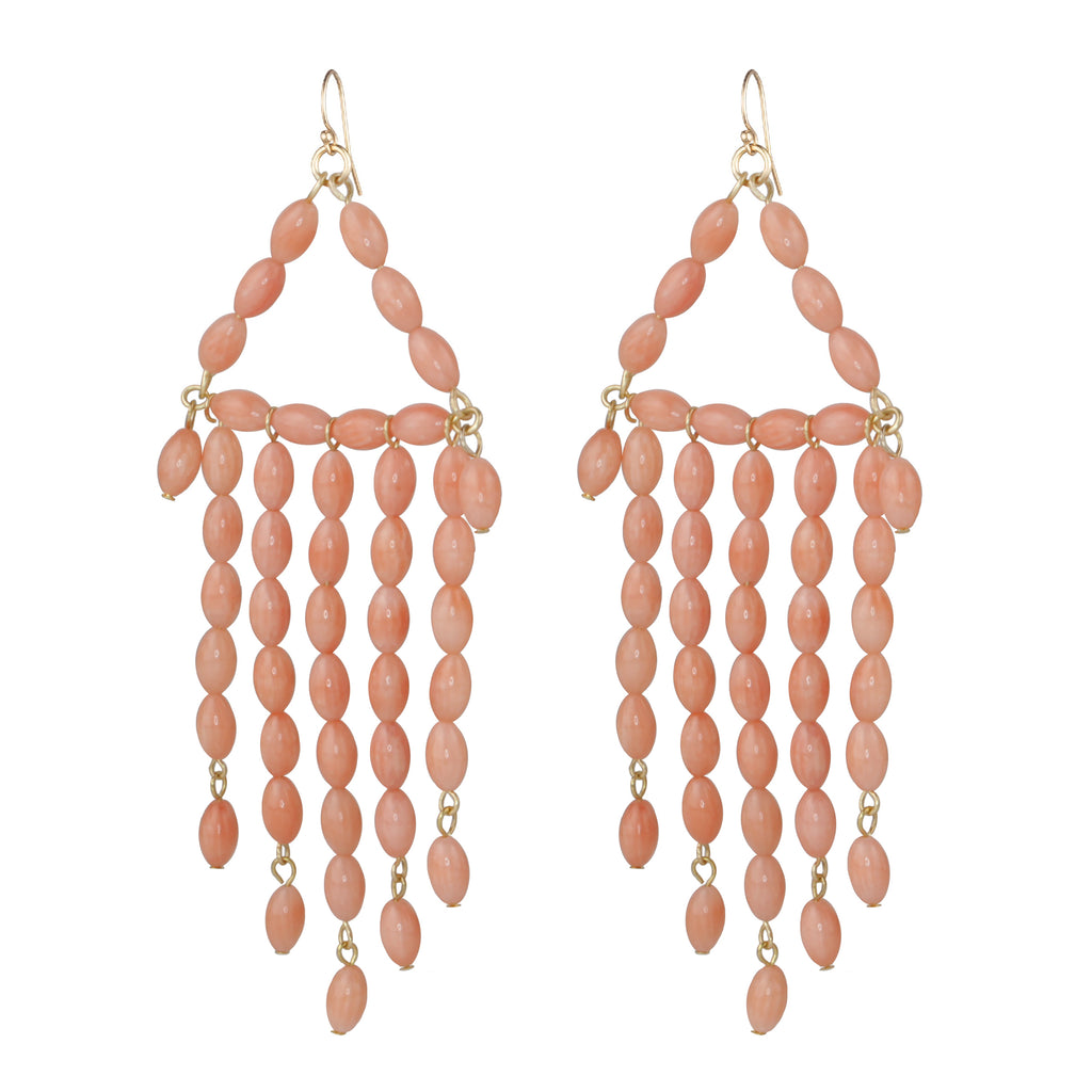 Natural Coral Beaded Chandelier Earring
