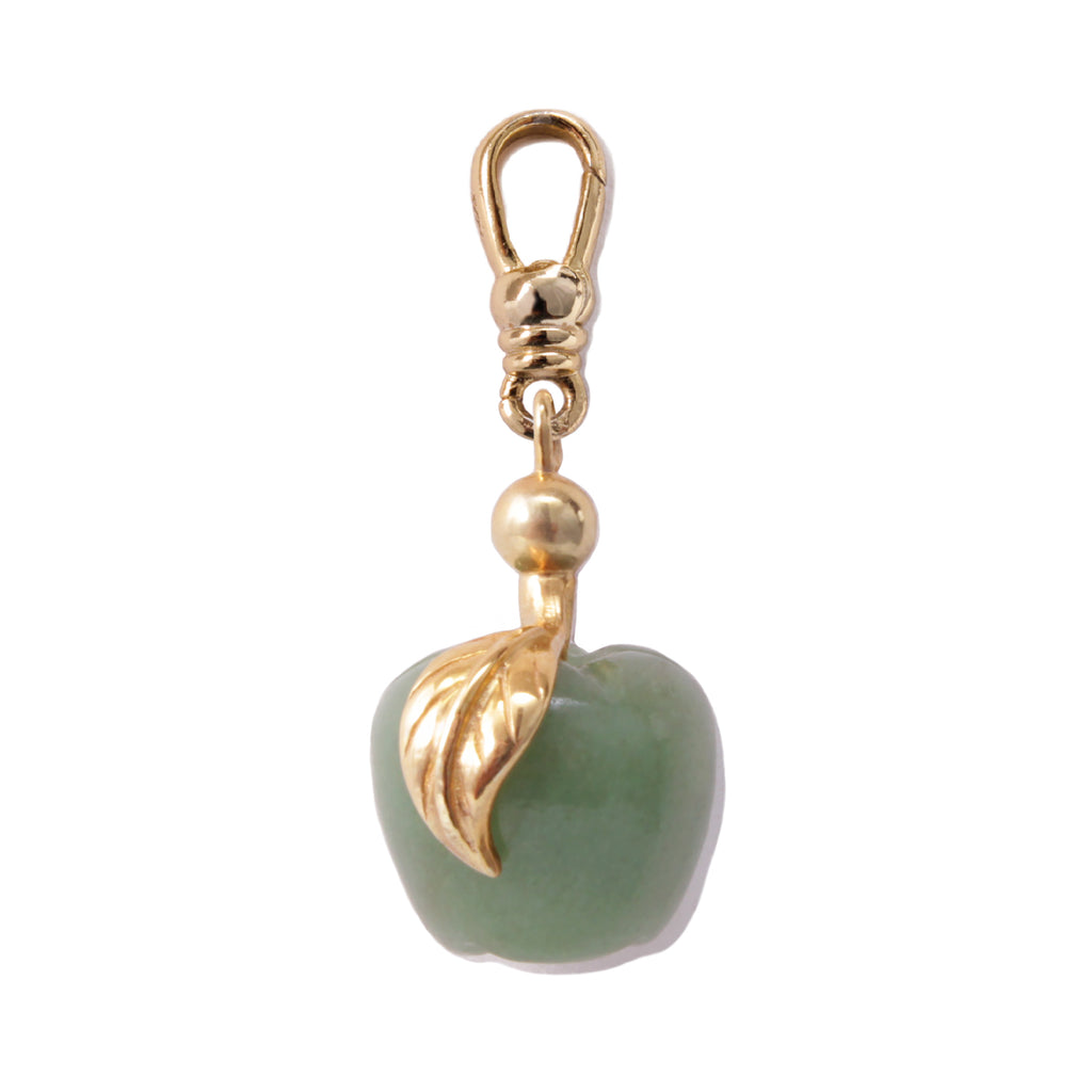 Frost Fine Green Jade Apple Charm - 14k Gold