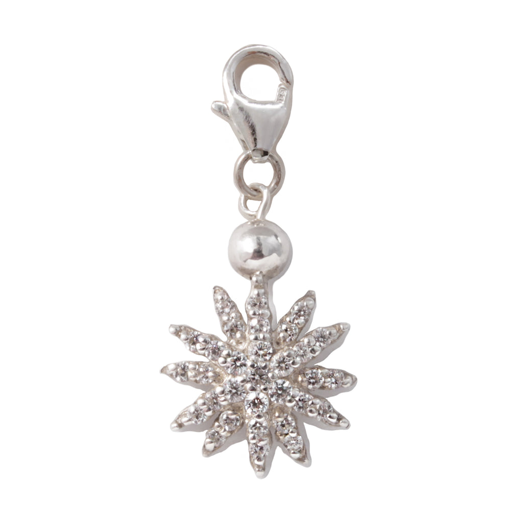 Frost Fine White Sapphire Stella Star Charm - Sterling Silver