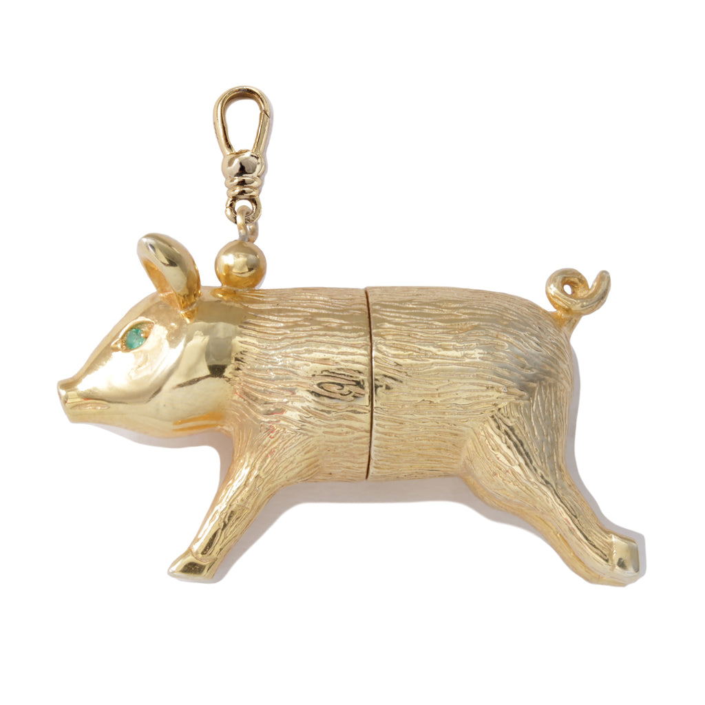 Frost Fine Poetry Pig Mechanical Charm - 14k Gold Vermeil