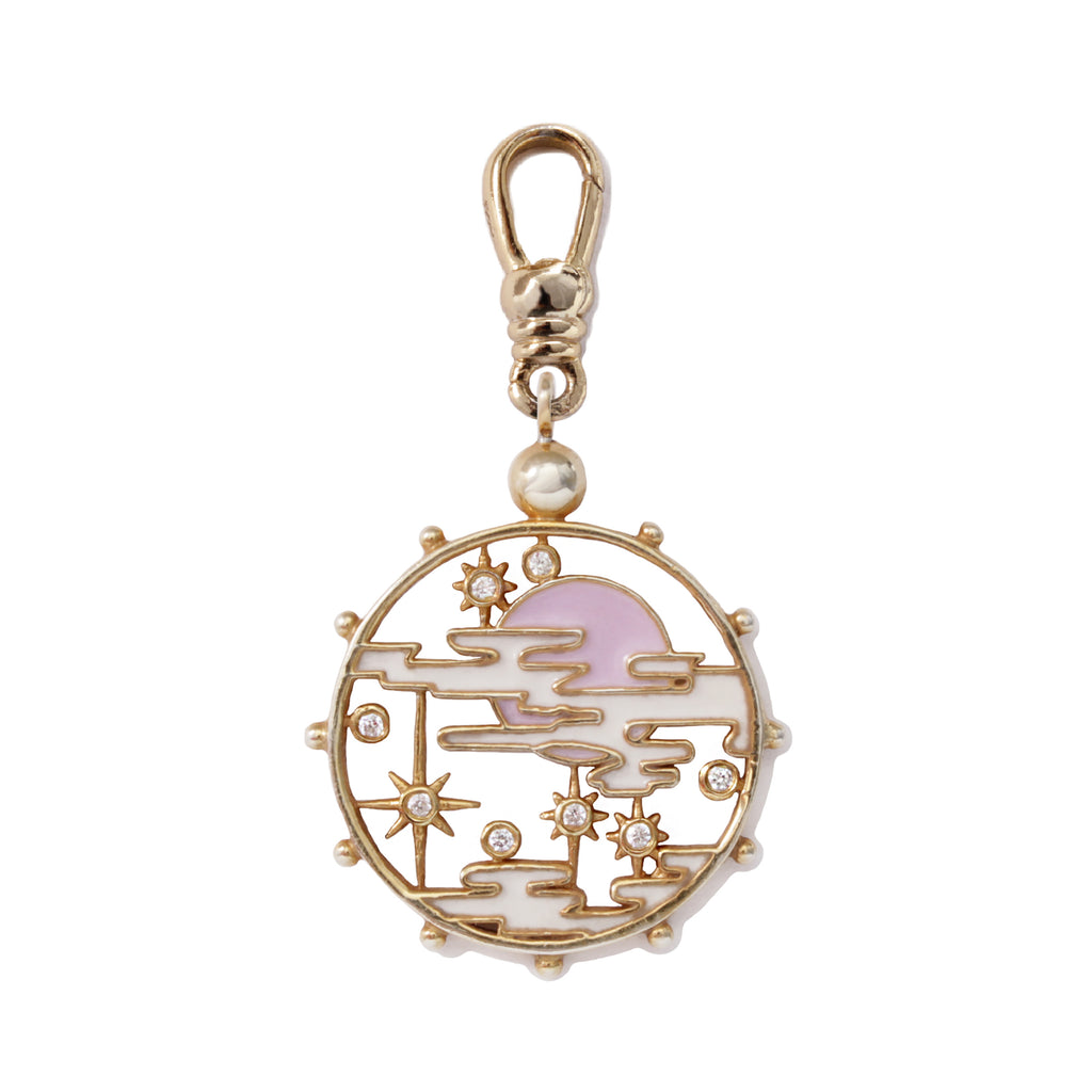 Frost Fine Diamond Lift the Veil Medallion Charm - 14k Gold
