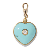 Frost Fine Diamond & Turquoise Candy Heart Charm - 14k Gold