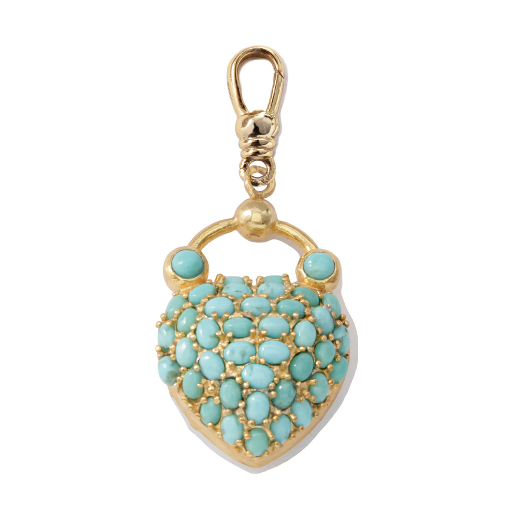 Frost Fine Turquoise Love Lock Charm - 14k Gold