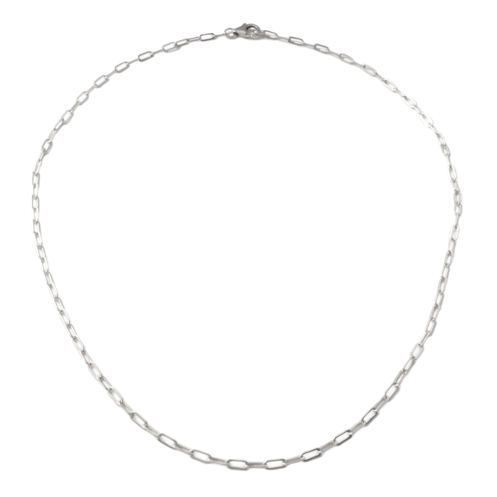 "Frost Fine Rectangle Link Chain 18"" - Sterling Silver"
