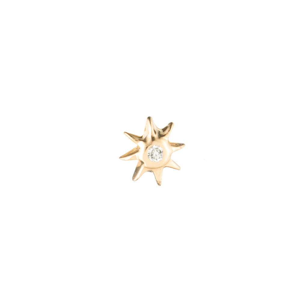 Zodiacs 14k & Diamond Fire Stud