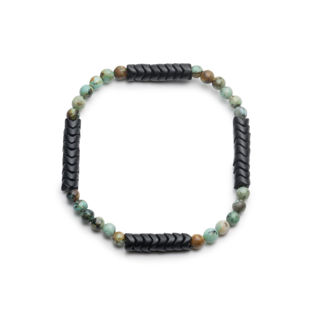 George Frost Limited Edition Merchant Vintage Snake Bead & African Turquoise Bracelet