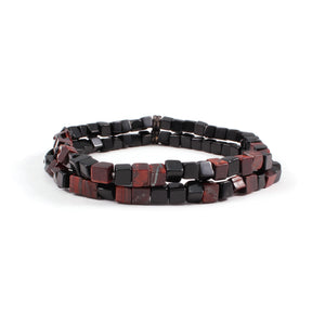 George Frost Morse Code Onyx & Tiger's Eye Double Bracelet - Valor - Thumbnail