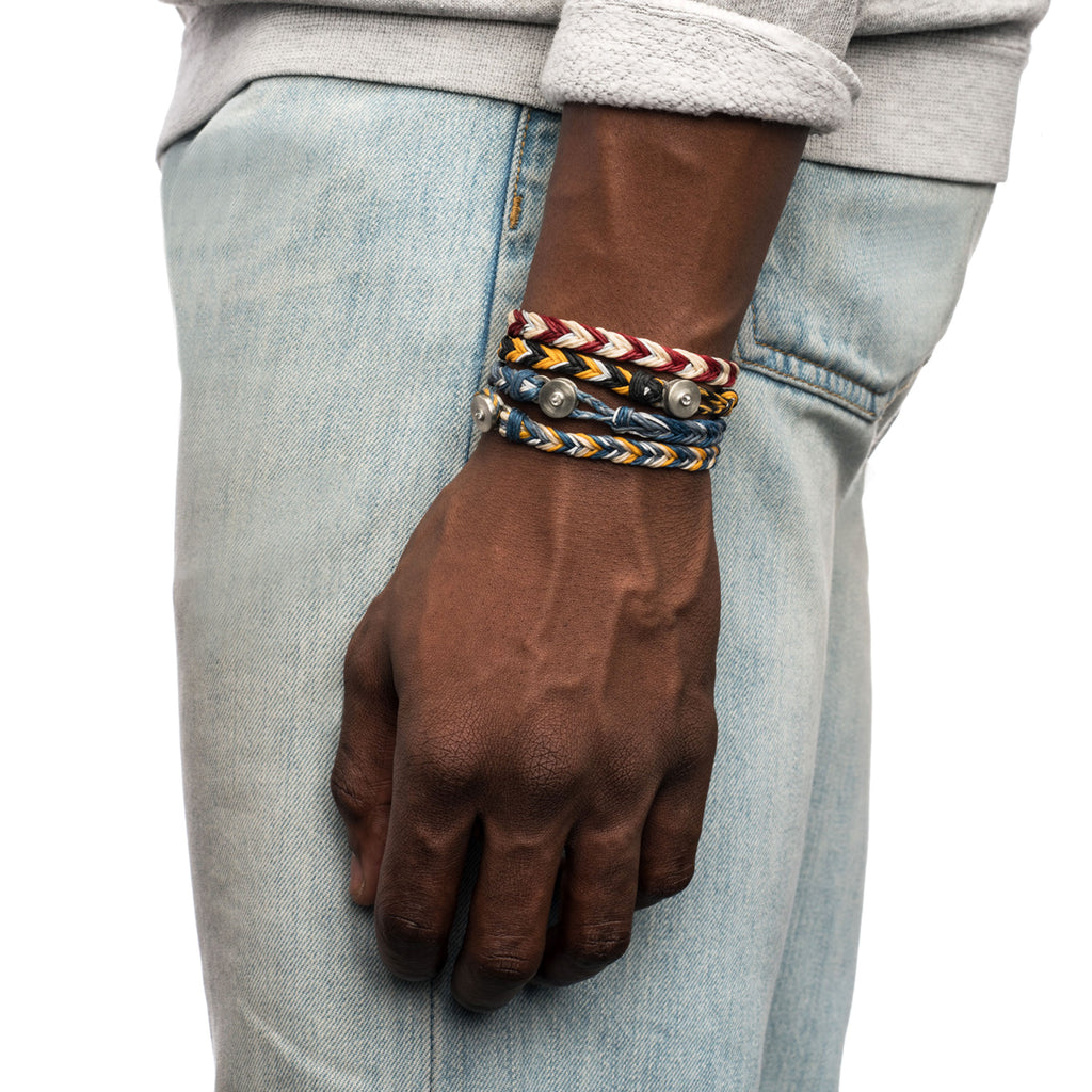 George Frost Woven Reflective Bracelet - Yellow & Black - Photo