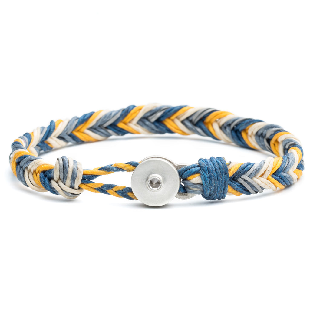 George Frost Woven Reflective Bracelet - Blue & Yellow