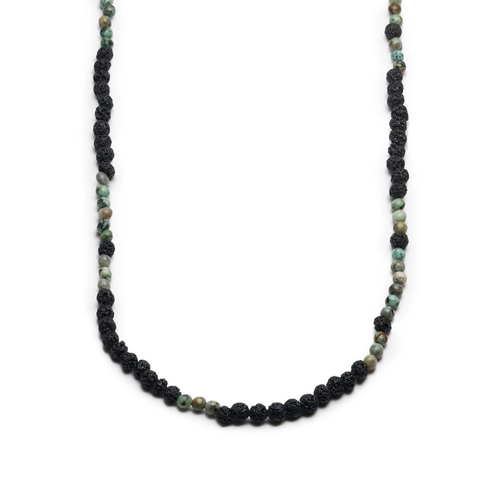 GEORGE FROST MORSE CODE LAVA & TURQUOISE NECKLACE - CREATE - Photo