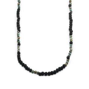 GEORGE FROST MORSE CODE LAVA & TURQUOISE NECKLACE - CREATE - Thumbnail