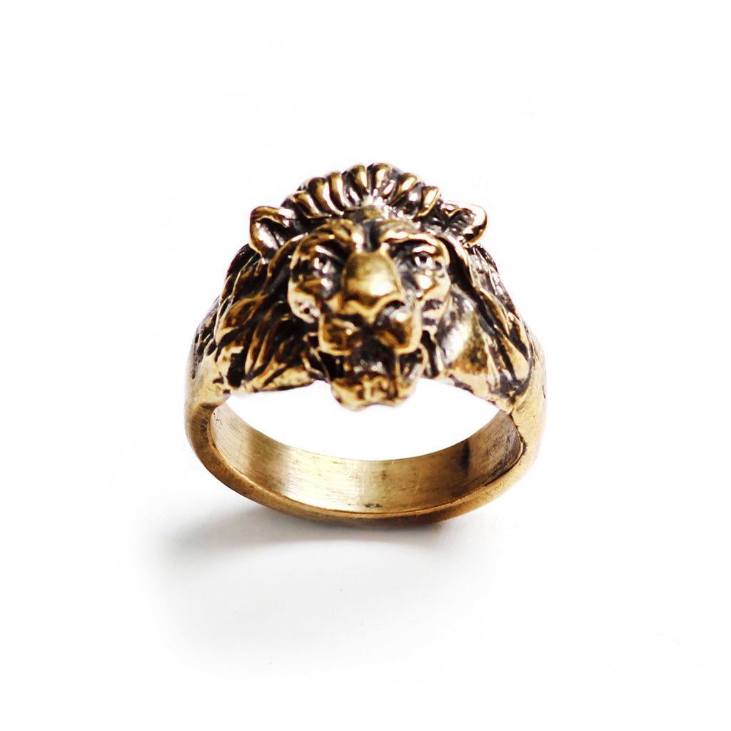 George Frost Bravery Lion Ring - Brass - Photo