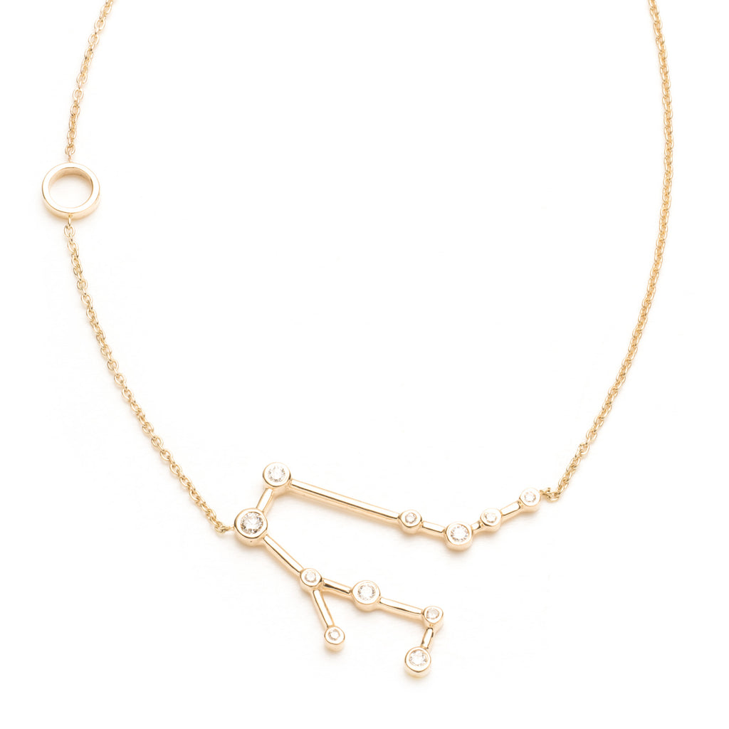 Zodiacs 14K & Diamond Gemini + Air Necklace