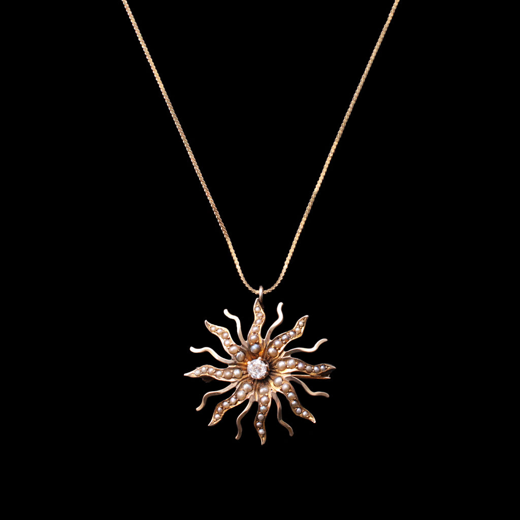 Fine Vintage Pendant Necklace - Diamond Starburst