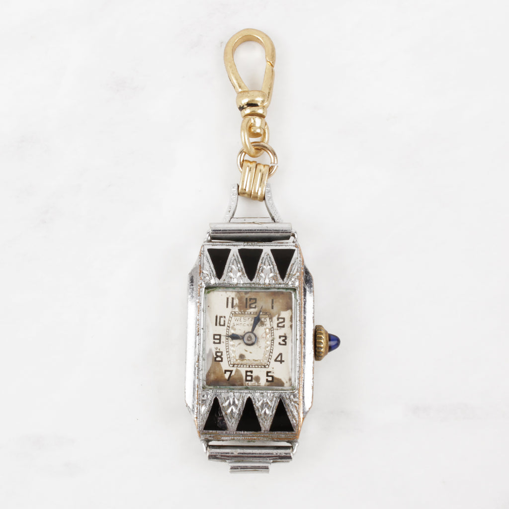 Antique 1930's Art Deco Black and Crystal Watch Ora Charm