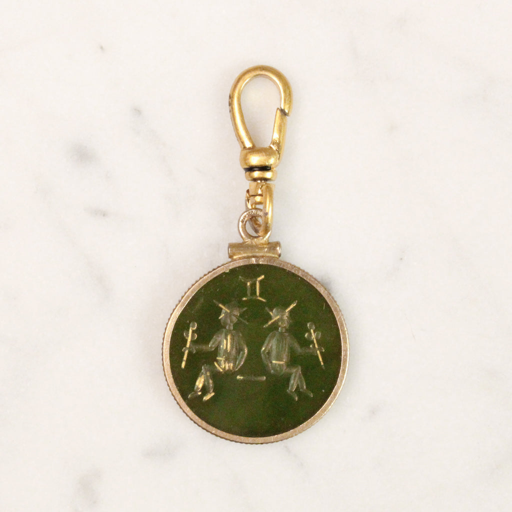 Antique 12k Gold Filled Gemini Agate Intaglio Charm - Photo