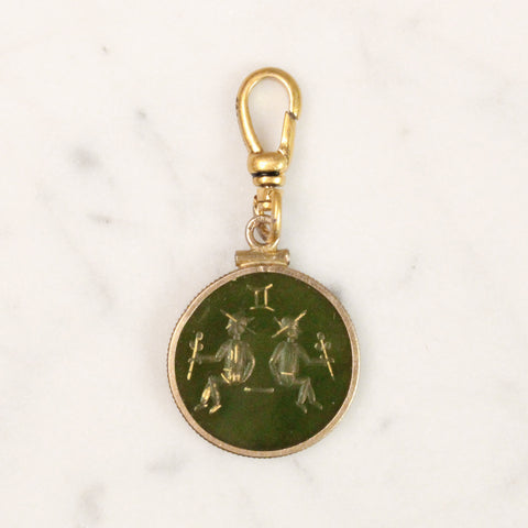 Antique 12k Gold Filled Gemini Agate Intaglio Charm
