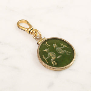 Antique 12k Gold Filled Gemini Agate Intaglio Charm - Thumbnail