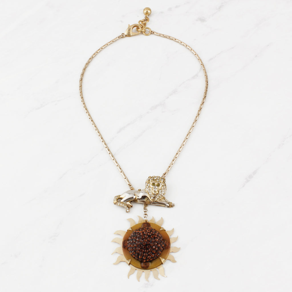 Vintage Leo on Fire Necklace