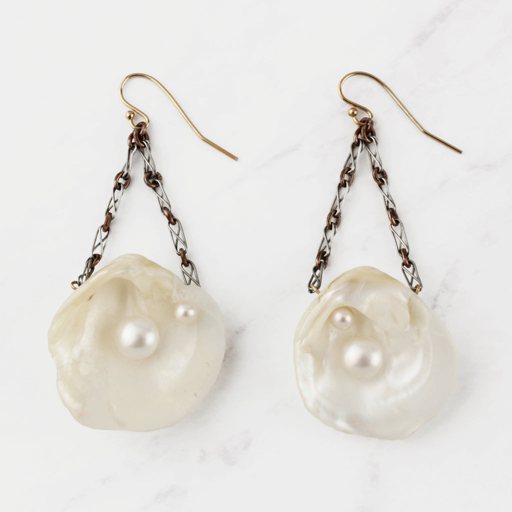 Vintage Pearly Shells Earrings