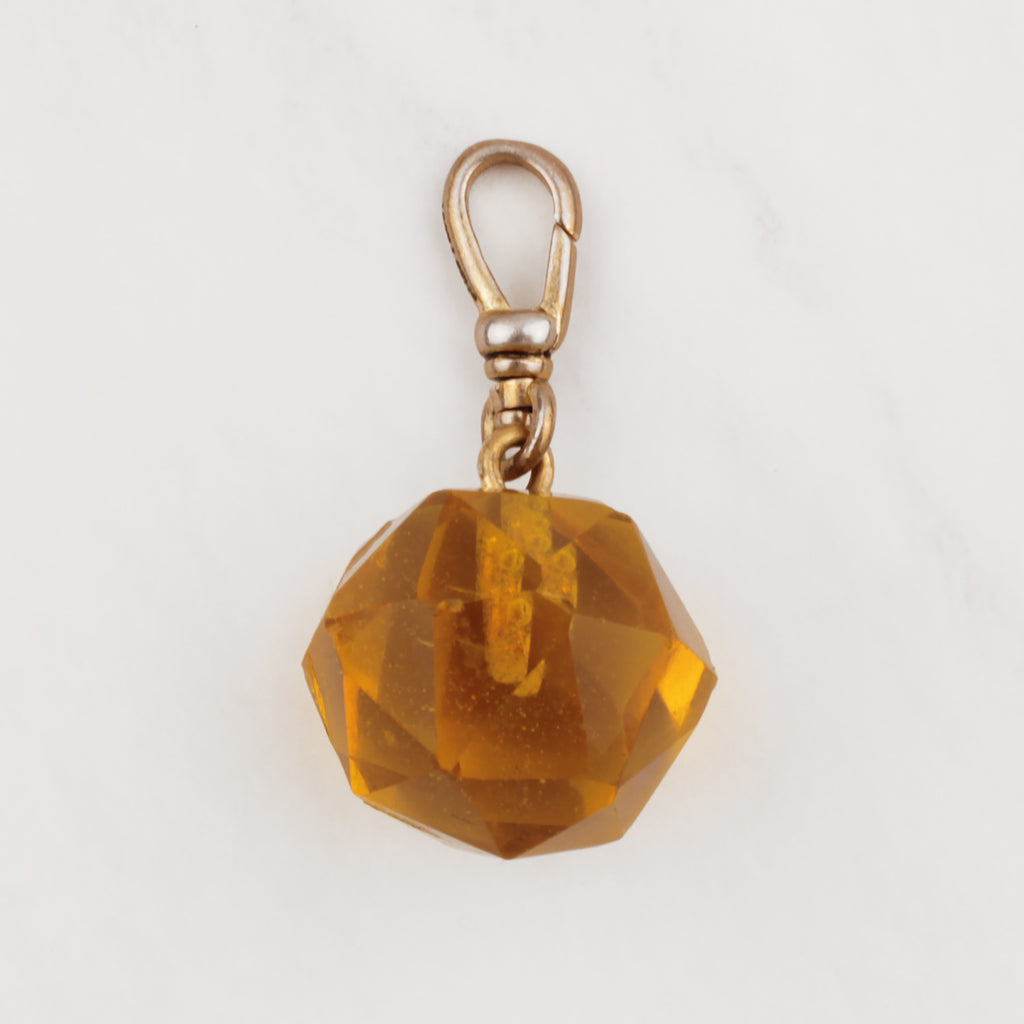 Vintage Faceted Honey Crystal Charm