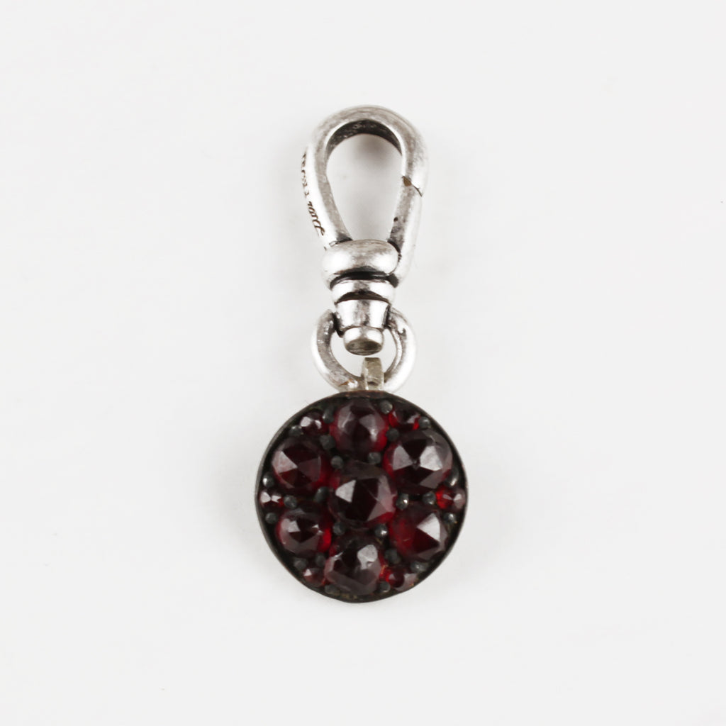 Antique Bohemian Garnet & Sterling Silver Charm