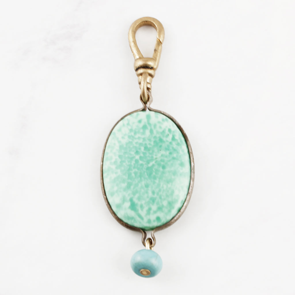 Vintage Peking Glass and Turquoise Drop Charm