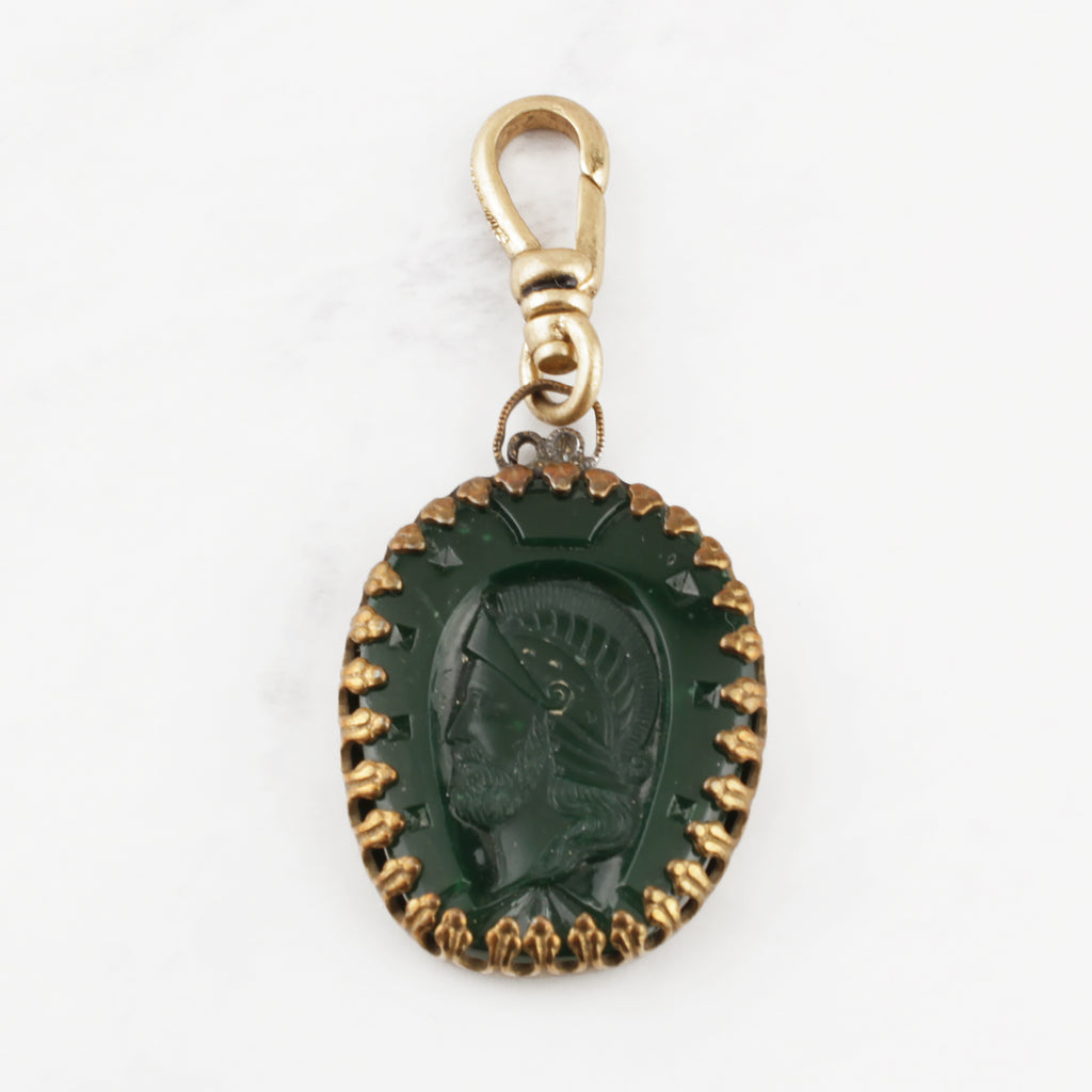 Antique Green Glass Intaglio Charm