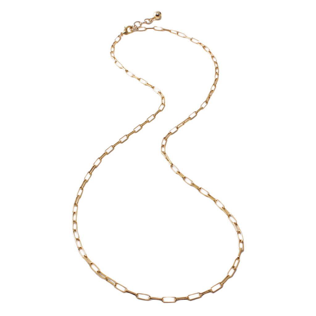 Plaza Long Rectangle Link Necklace Base - Gold