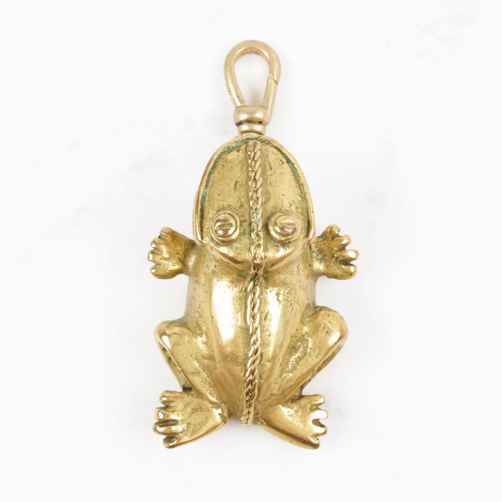 Vintage 10 Karat Gold Plated Mayan Style Smiley Frog Charm