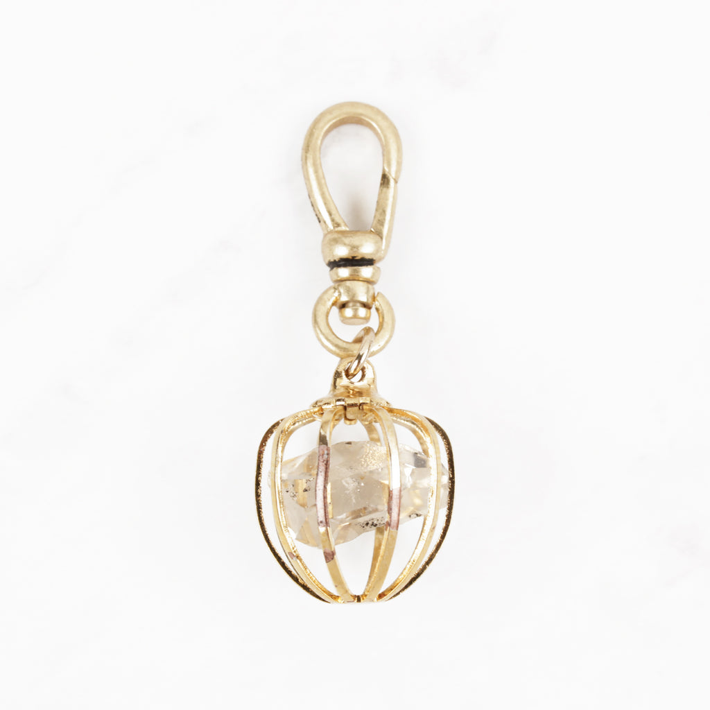 Vintage Goldfill Caged Herkimer Diamond Magical Mood Charm