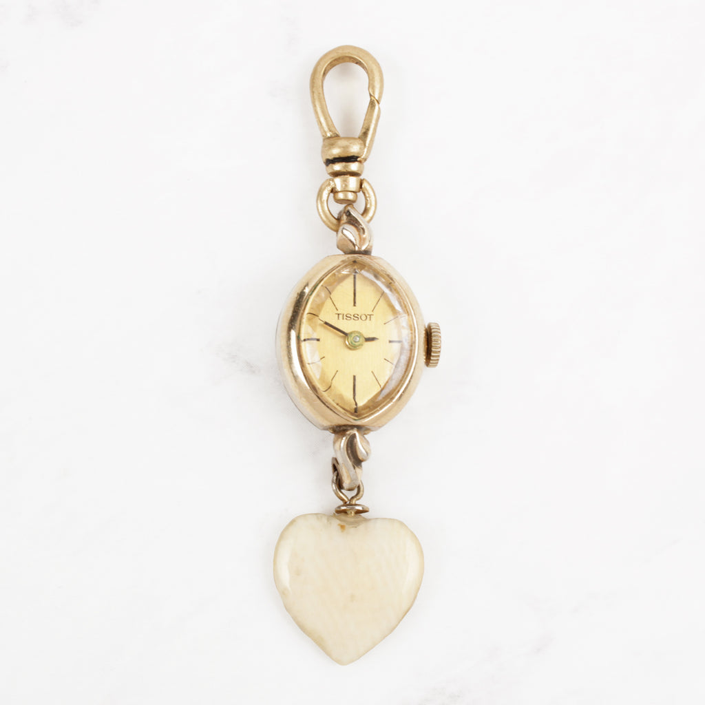 Vintage Tissot 14 Karat Gold Watch Cream Heart Charm