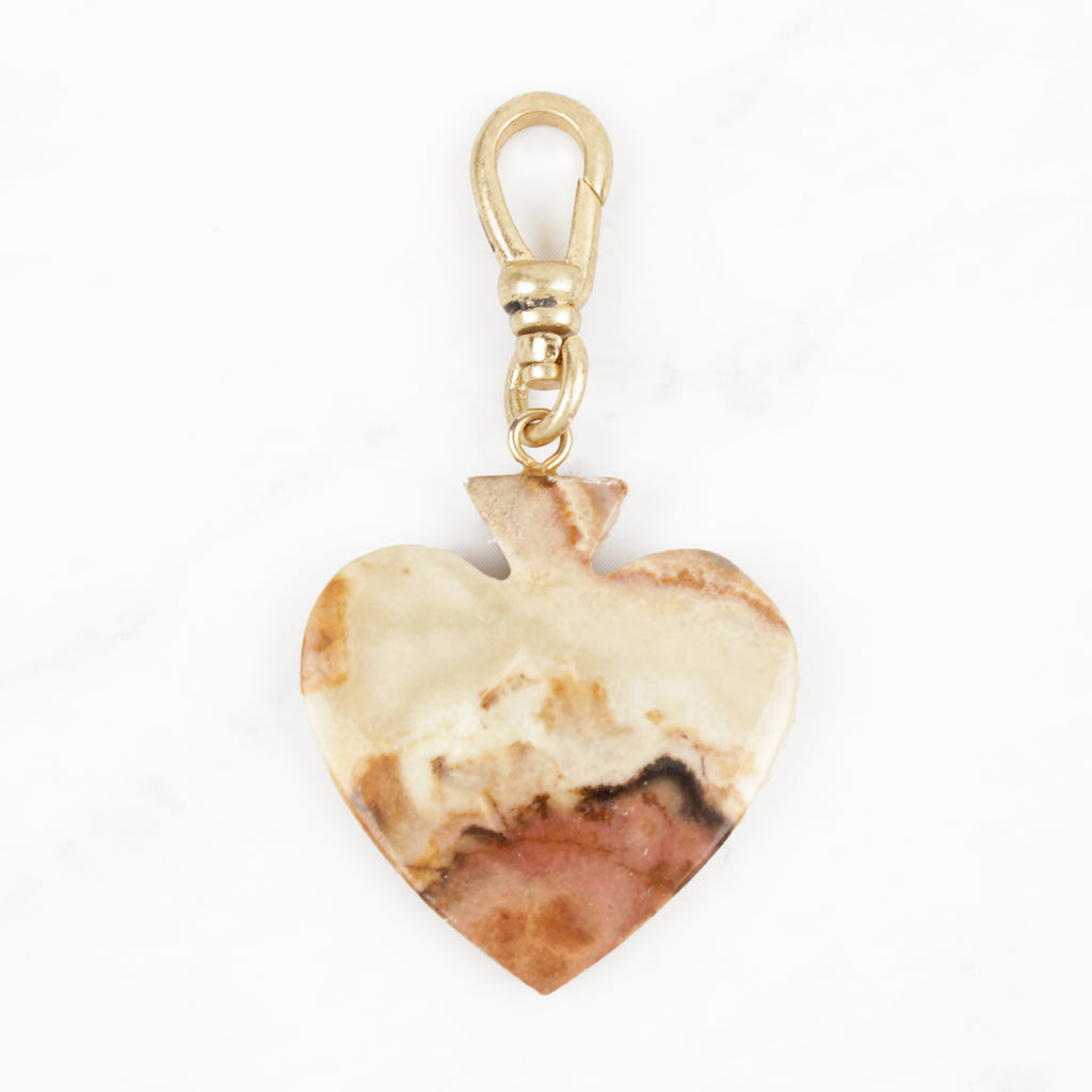 Vintage Handcarved Marbled Agate Eternal Love Charm