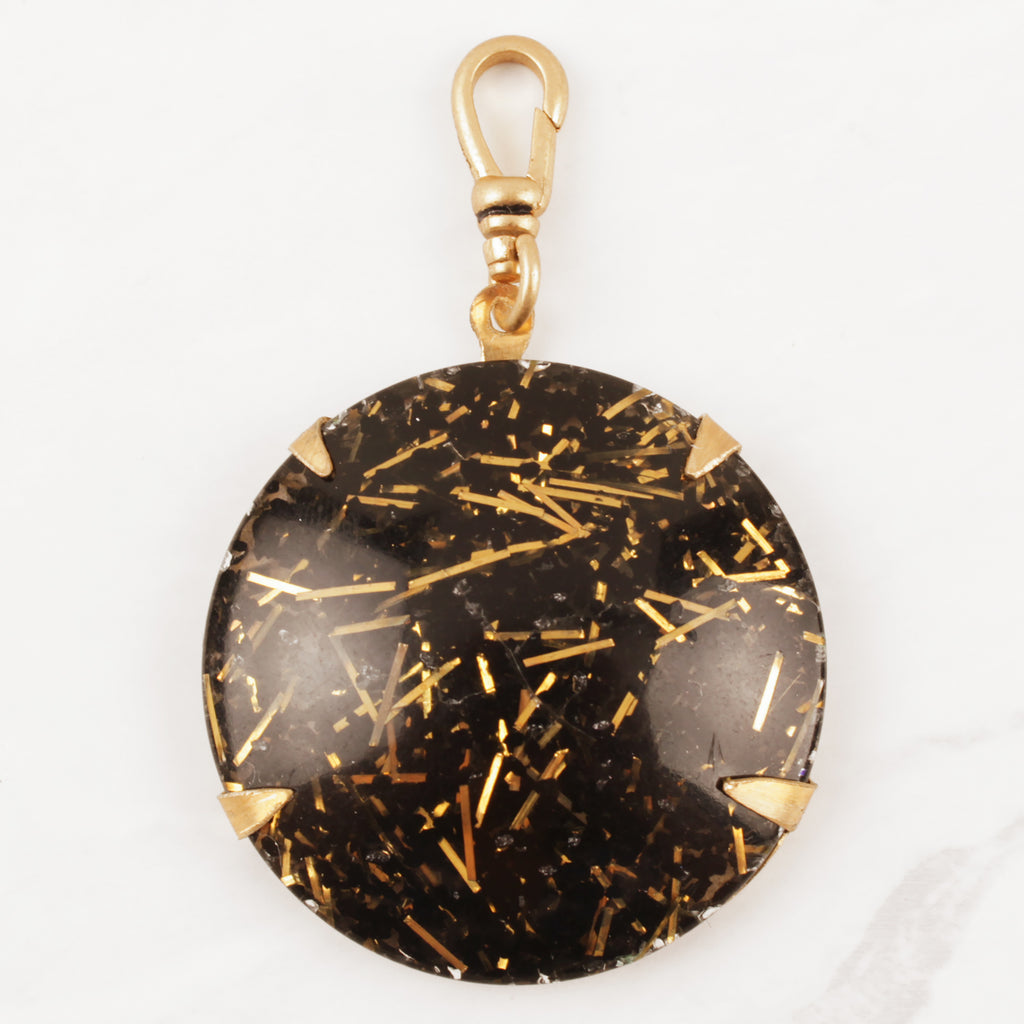 Vintage Black and Gold Tinsel Charm