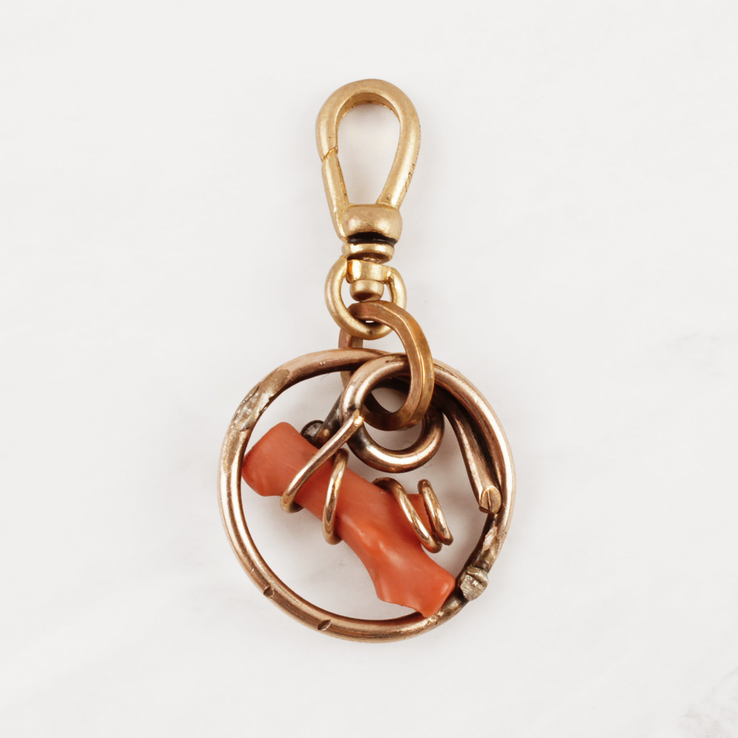 Antique Gold Filled & Coral Branch Charm