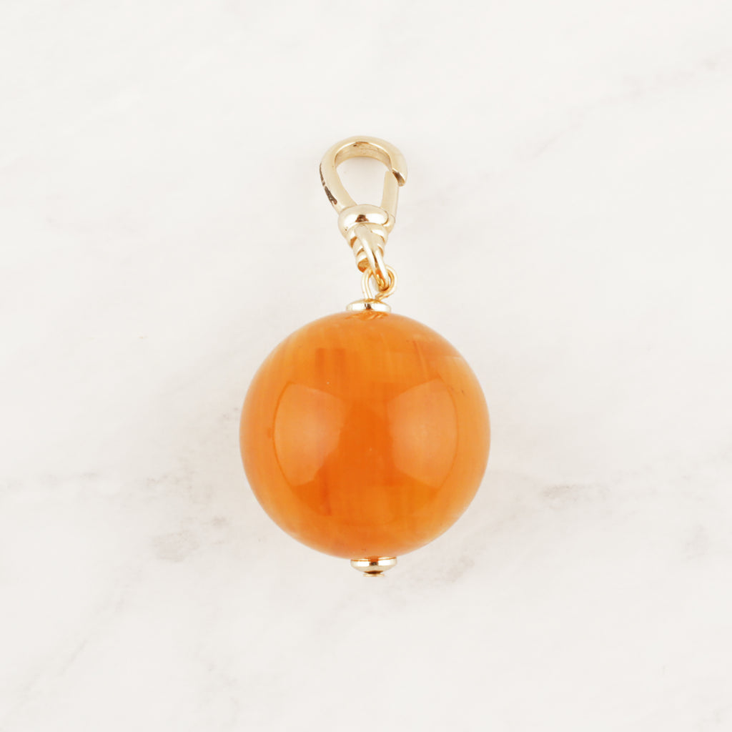 Vintage Marbled Amber Resin Bauble Charm