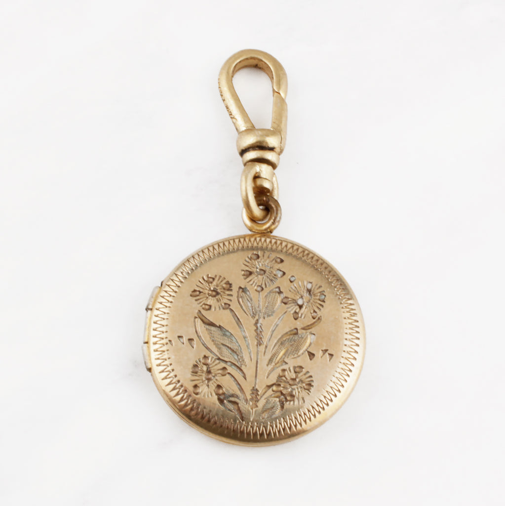 "Antique Zinnia Flower ""Magic Energy Joy"" Goldfilled Locket"
