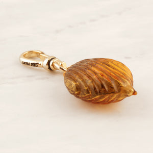 Antique Golden Glass Bauble Charm