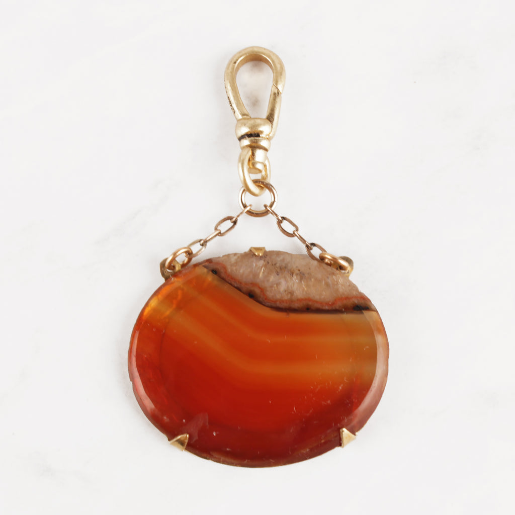 Antique Lapidary Banded Agate 10 Karat Gold Chain Cora Charm